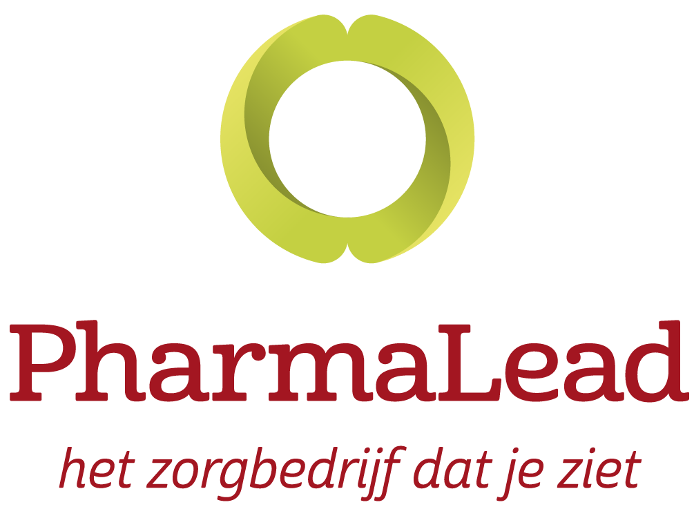 PharmaLead logo green lizard lined to center Payoff RGB